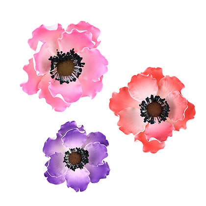 Assorted Anemone Gumpaste Flowers - Set of 3