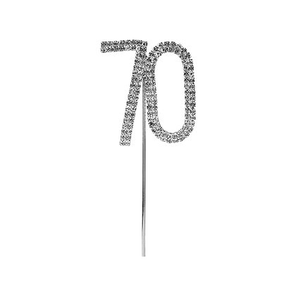 O'Creme Silver Rhinestone 'Number Seventy' Cupcake Topper