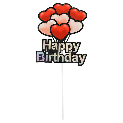 O'Creme Happy Birthday with Hearts Cake Topper