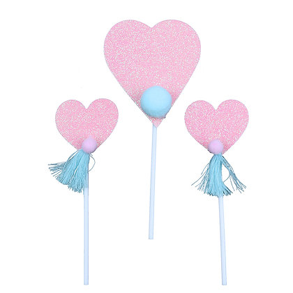 O'Creme Pink Heart Cake Toppers, Set of 3