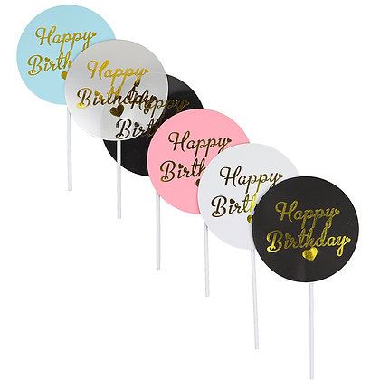 O'Creme Happy Birthday Circle Cake Toppers, Pack of 18