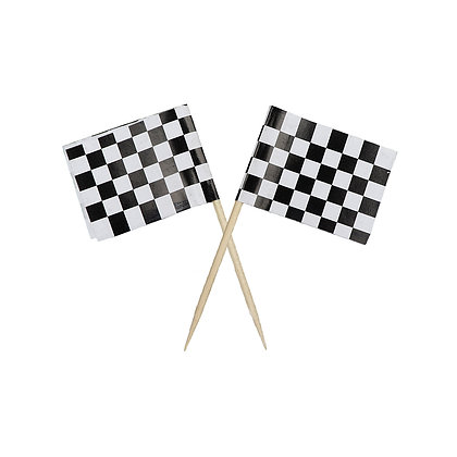 O'Creme Racing Car Flag Cake Toppers, Pack of 25