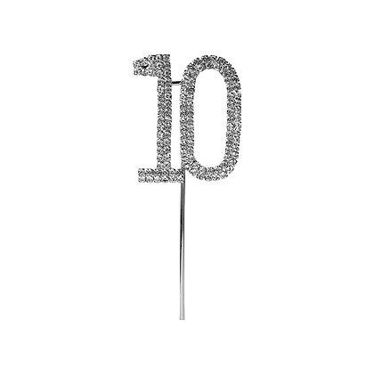 O'Creme Silver Rhinestone 'Number Ten' Cupcake Topper