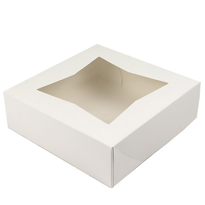 O'Creme White Pie Box, with Window, 9 x 9 x 2.5 Inches Deep - Pack Of 5