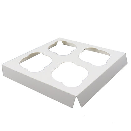 O'Creme White Cardboard Insert for Cupcakes, 4 Cavities Size: Case of 100