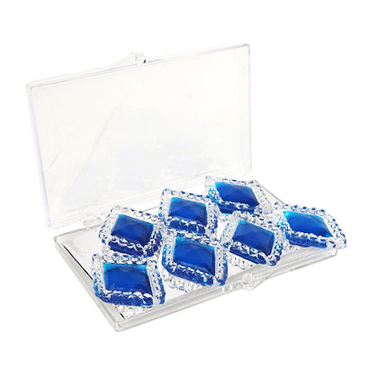 Edible Diamond-Framed Sapphire Blue Rhombus Gems, 7 Pieces