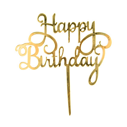 O'Creme Gold Script Happy Birthday Cake Topper