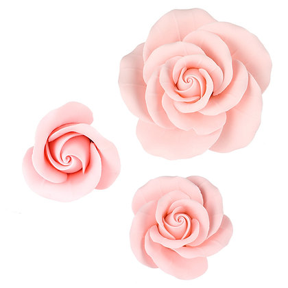 Soft Pink Garden Roses Gumpaste Flowers - Set of 6