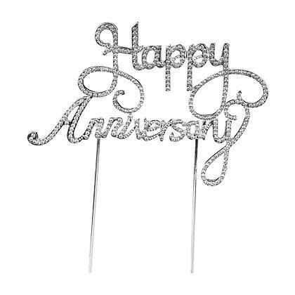 O'Creme Rhinestone 'Happy Anniversary' Cake Topper