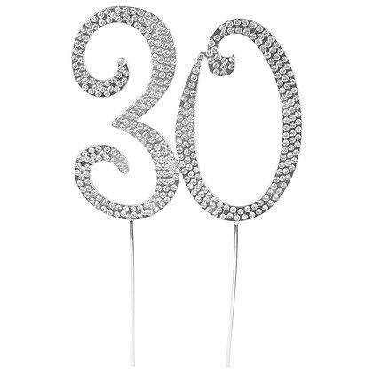 O'Creme Silver Rhinestone 'Number Thirty' Cake Topper