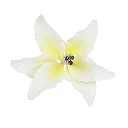 White with Yellow Spray Stargazer Lily Gumpaste Flowers - Set of 3