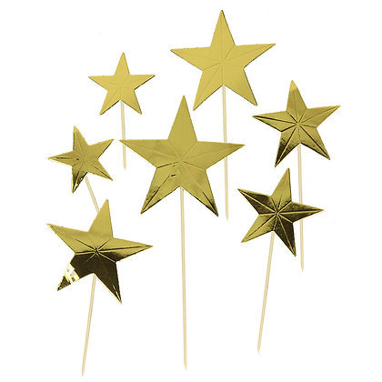 O'Creme Gold Star Cake Toppers, Pack of 7