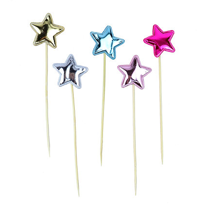 O'Creme Colored Star Cake Toppers, Pack of 45
