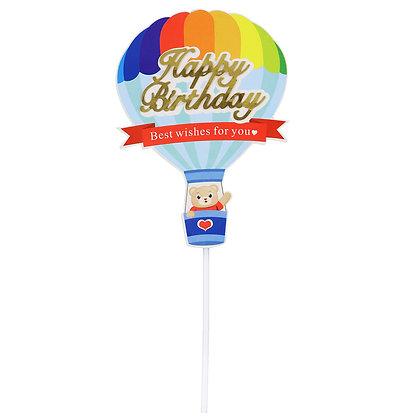 O'Creme Happy Birthday with Balloon Cake Topper