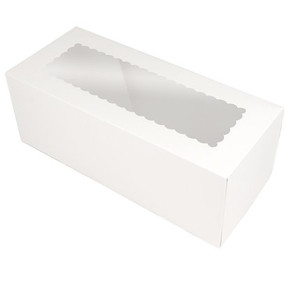 "O'Creme White Log Box with Scalloped Window, 14"" x 6"" x 5"" H, Case Of 50"