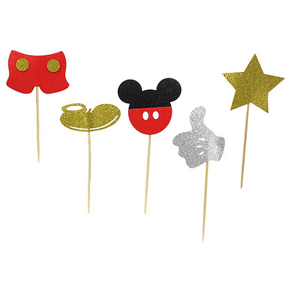 O'Creme Mickey Mouse Themed Cake Toppers, Pack of 25