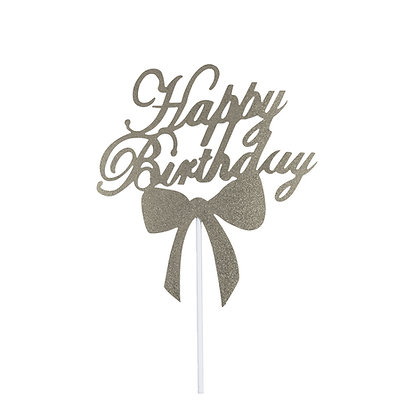 O'Creme Silver Paper Happy Birthday Cake Toppers, Pack of 10