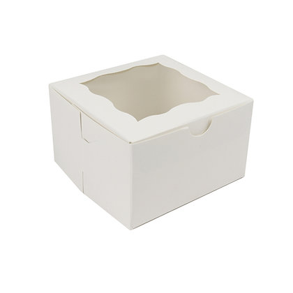 "O'Creme White One Compartment Cupcake Box with Window 4"" x 4"" x 4"" - Case of 500"