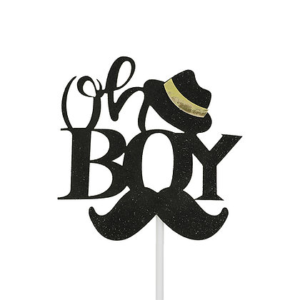O'Creme Oh Boy Black Cake Topper