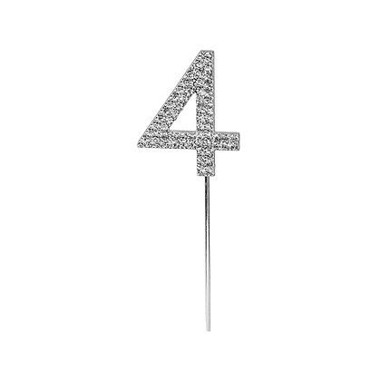 O'Creme Silver Rhinestone 'Number Four' Cupcake Topper