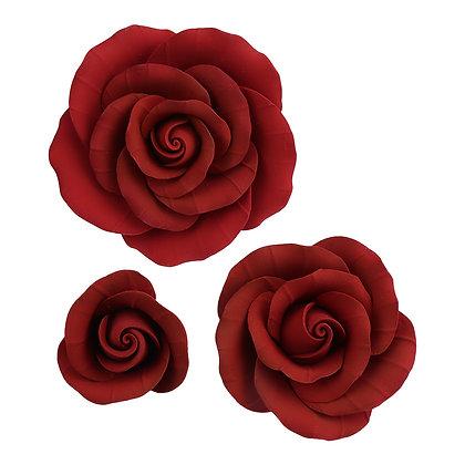 O'Creme Red Garden Rose Gumpaste Flowers - Set of 6