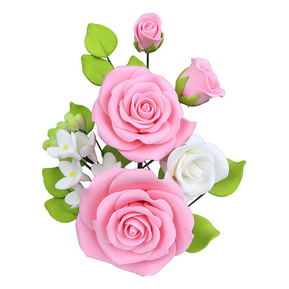 O'Creme Pink Rose Spray Gumpaste Flowers - Set of 3