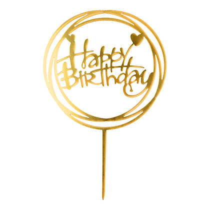O'Creme Gold Happy Birthday in Circles Cake Topper