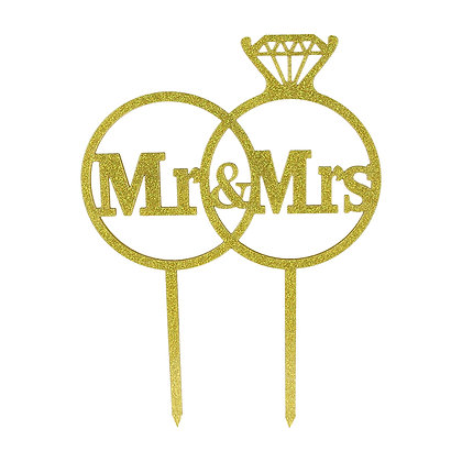 O'Creme 'Mr. & Mrs.' in Ring Cake Topper