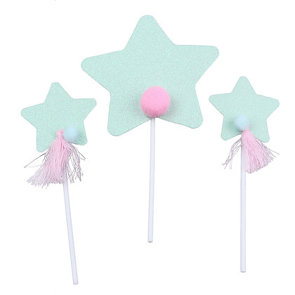 O'Creme Blue Star Cake Toppers, Pack of 3