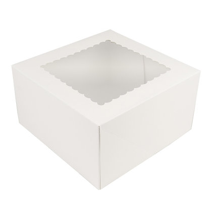 """O'Creme White Cake Box with Scalloped Window, 9""""x 9"""" x 5"""" High - Pack Of 5"""