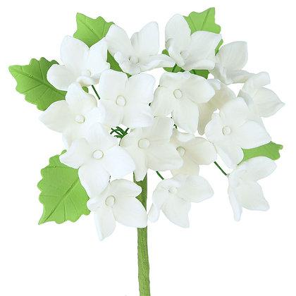 White Hydrangeas with Leaves Gumpaste Flowers - Set of 3