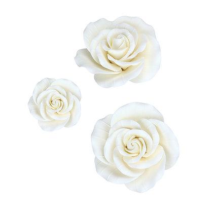 White Garden Roses Gumpaste Flowers - Set of 6