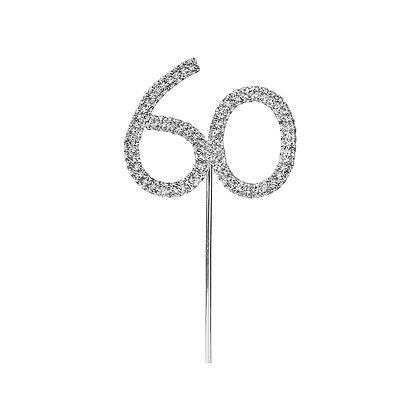 O'Creme Silver Rhinestone 'Number Sixty' Cupcake Topper