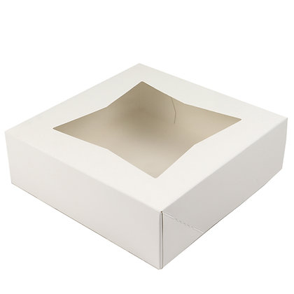O'Creme White Pie Box, with Window, 10 x 10 x 2.5 Inches Deep - Pack Of 5