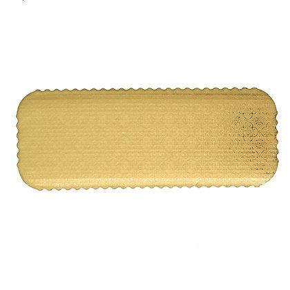 "O'Creme Scalloped Gold Log Cake Board 16"" x 6""x 1/4"" - Pack of 10"