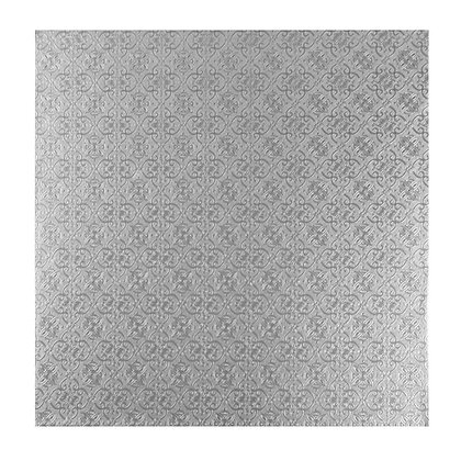 """O'Creme Square Silver Cake Drum Board, 8"""" x 1/2"""" Thick, Pack of 5"""