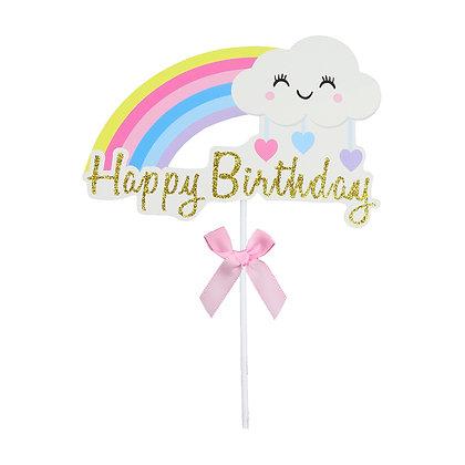O'Creme Rainbow Happy Birthday Cake Topper