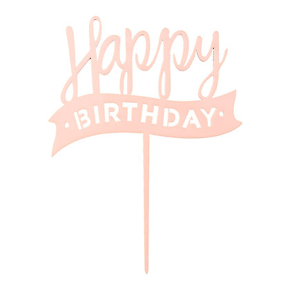O'Creme Pink Happy Birthday Cake Topper