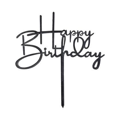 O'Creme Black Happy Birthday Cake Topper