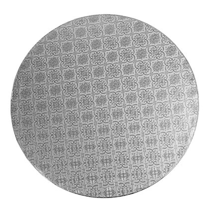 """O'Creme Round Silver Cake Drum Board, 8"""" x 1/2"""" High, Pack of 5"""