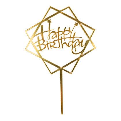 O'Creme Gold Happy Birthday in Squares Cake Topper