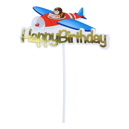 O'Creme Happy Birthday with Airplane Cake Topper