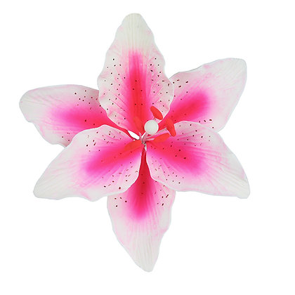 White with Pink Spray Stargazer Lily Gumpaste Flowers - Set of 3