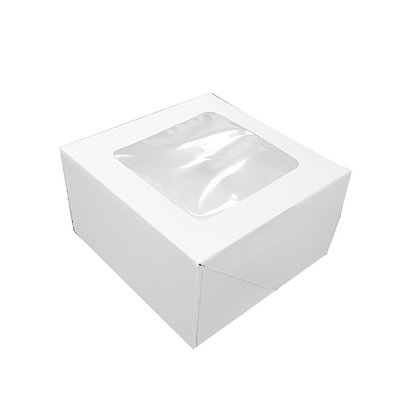 "O'Creme White Pie Box with Window, 10"" x 10"" x 5"" - Pack of 5"