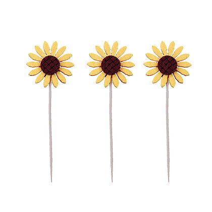 O'Creme Yellow Daisy Cake Toppers, Pack of 3
