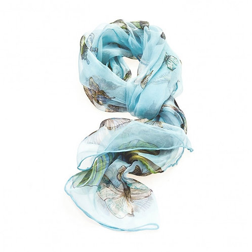 Luxurious Silk Butterfly Scarf: Light Blue