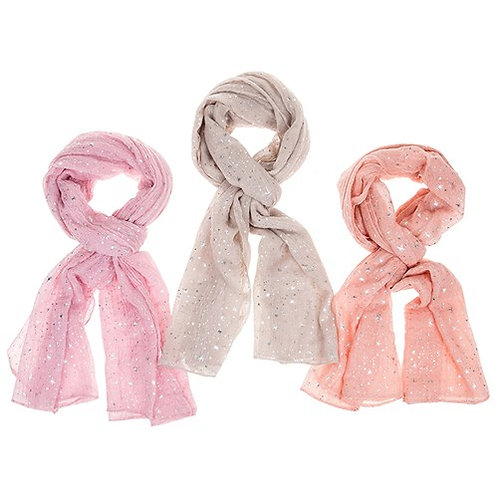 Metallic Sparkle Scarf: Pink