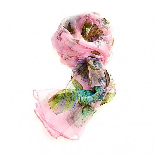 Luxurious Silk Butterfly Scarf: Light Pink