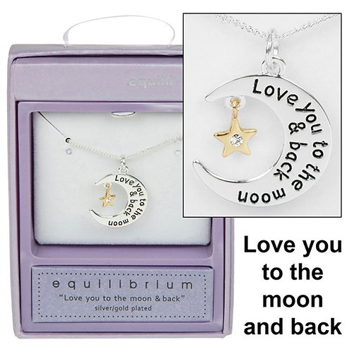 Moon & Star Love You Necklace