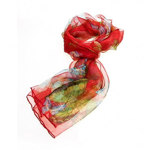 Luxurious Silk Butterfly Scarf: Red
